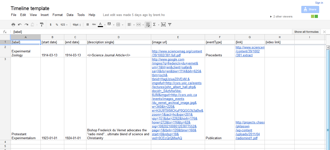Adding your own data to the Google Spreadsheet